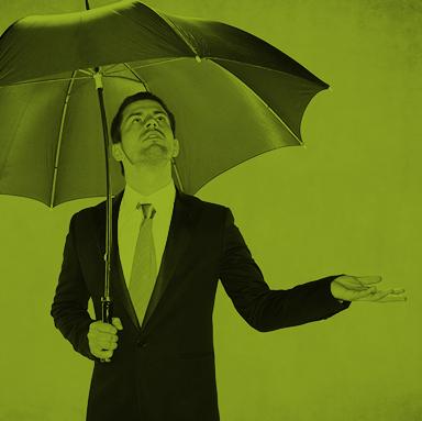 Business guy holding an umbrella